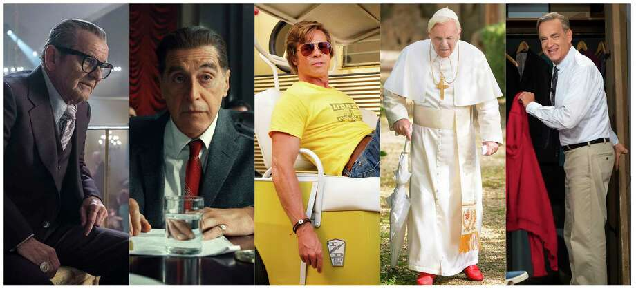 "This combination of photos shows best supporting actor Oscar nominees, from left, Joe Pesci in ""The Irishman,"" Al Pacino in ""The Irishman,"" Brad Pitt in ""Once Upon a Time...in Hollywood,"" Anthony Hopkins in ""The Two Popes,"" and Tom Hanks in ""A Beautiful Day in the Neighborhood.""  The 92nd Academy Awards will take place Feb. 9 in Los Angeles at the Dolby Theatre.(Netflix/Netflix/Sony/Netflix/Sony via AP) / Netflix/Netflix/Sony/Netflix/Sony"