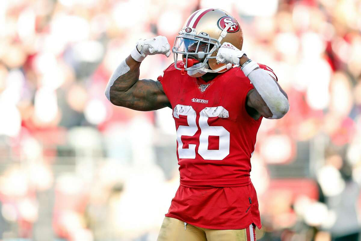 San Francisco 49ers' Tevin Coleman celebrates his 3rd quarter touchdown against Minnesota Vikings during Niners' 27-10 win in NFC Divisional playoff game at Levi's Stadium in Santa Clara, Calif., on Saturday, January 11, 2020.
