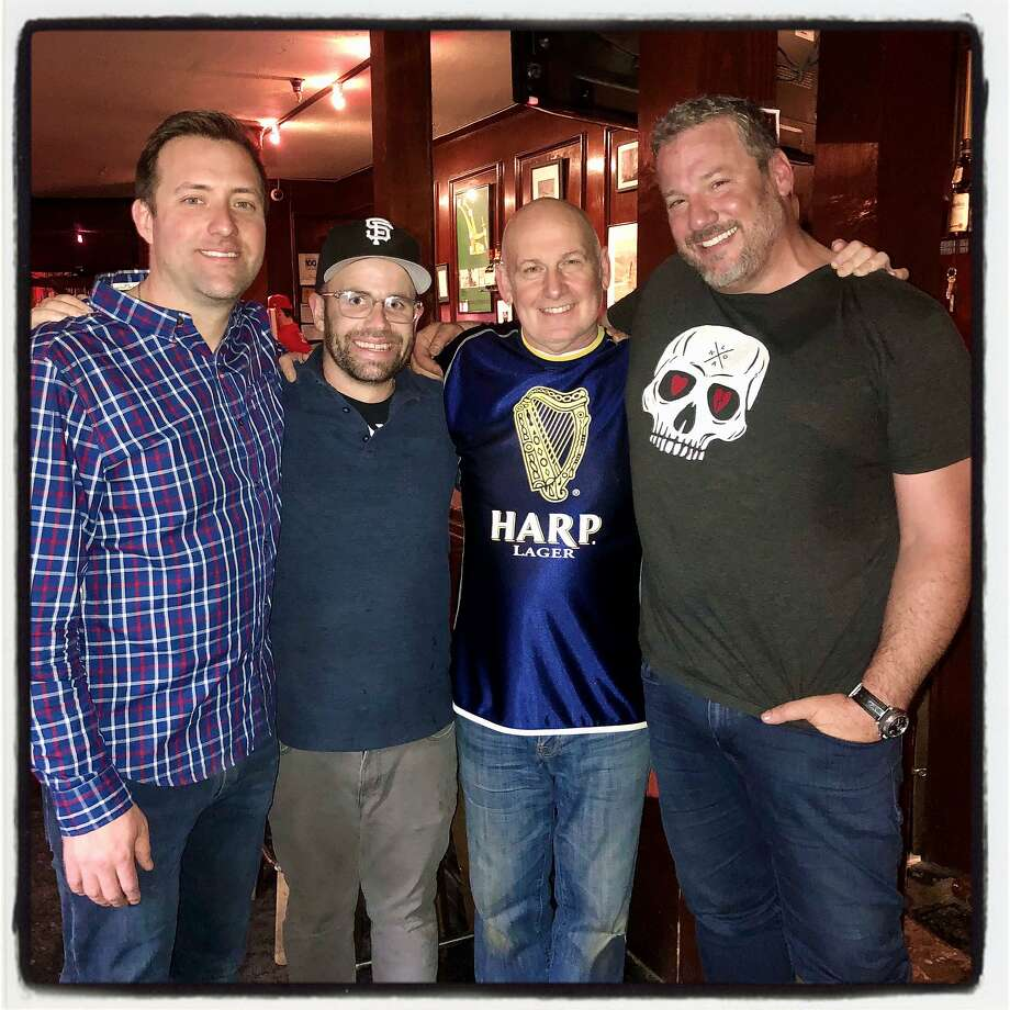 Joey Nevin (left) with Plough and Stars bartender Eoin Hobden, Martin Shears and Ike Martin. Jan. 11, 2020 Photo: Catherine Bigelow / Special To The Chronicle