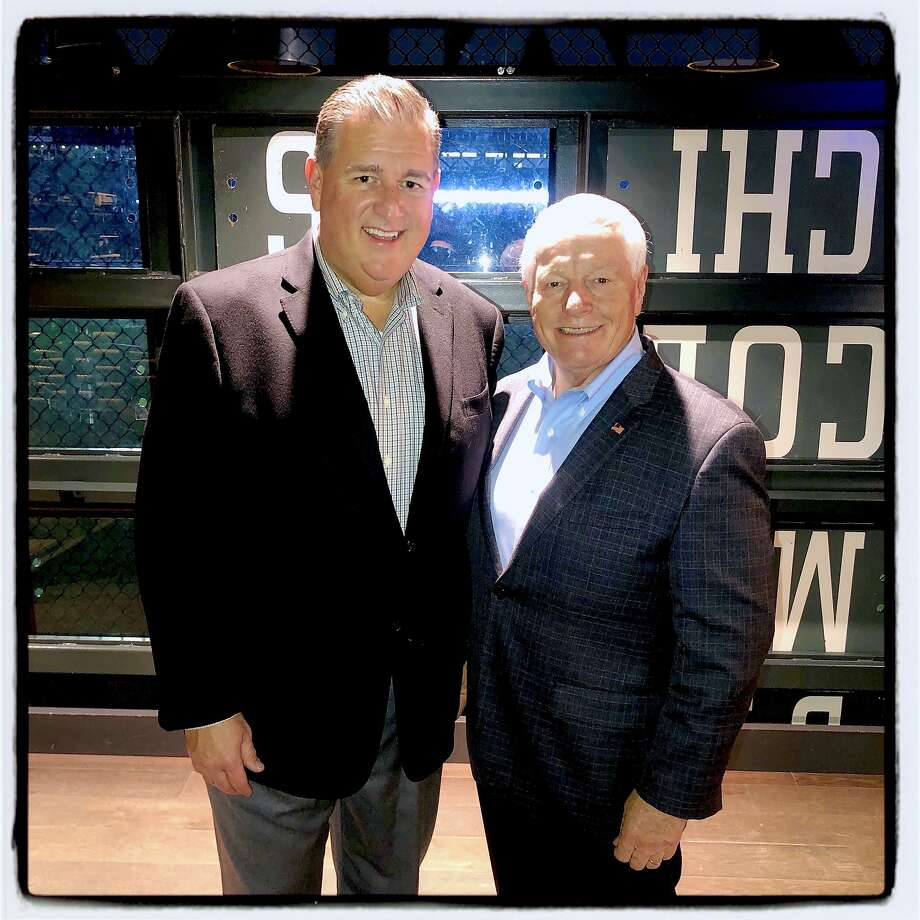 Giants Enterprises President Stephen Revertria (left) and U.S. Travel Association CEO Roger Dow at the Giants' Gotham Club. Jan. 5, 2020. Photo: Catherine Bigelow / Special To The Chronicle