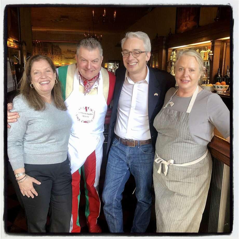 Sandra Bagnatori (left) with chef Dario Cecchini, Italian Consul General Lorenzo Ortona and chef Nancy Oakes at Tosca. Jan. 12, 2020. Photo: Photos By Catherine Bigelow / Special To The Chronicle