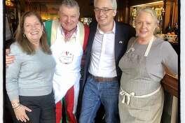 Sandra Bagnatori (left) with chef Dario Cecchini, Italian Consul General Lorenzo Ortona and chef Nancy Oakes at Tosca. Jan. 12, 2020.