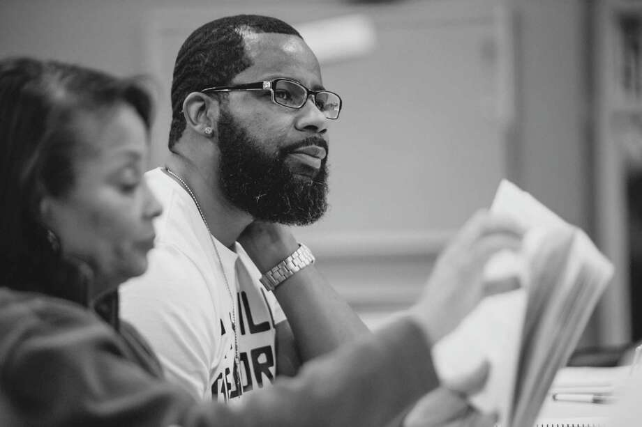 "Michele Harrell, left, and Kedrick Brown read through lines for the AD Players production of ""Guess Who's Coming to Dinner."" The show is slated to run Friday, Jan. 31, through Sunday, Feb. 16. Photo: Photo By Jeff McMorrough"