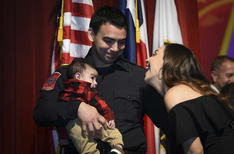 Graduating cadets of Fire Academy 434 meet with family, instructors and city officials at the U.I.S.D. Bill Johnson Student Activity Complex auditorium, Friday, Jan. 10, 2020, during the Laredo Fire Department Academy Graduation. Photo: Danny Zaragoza