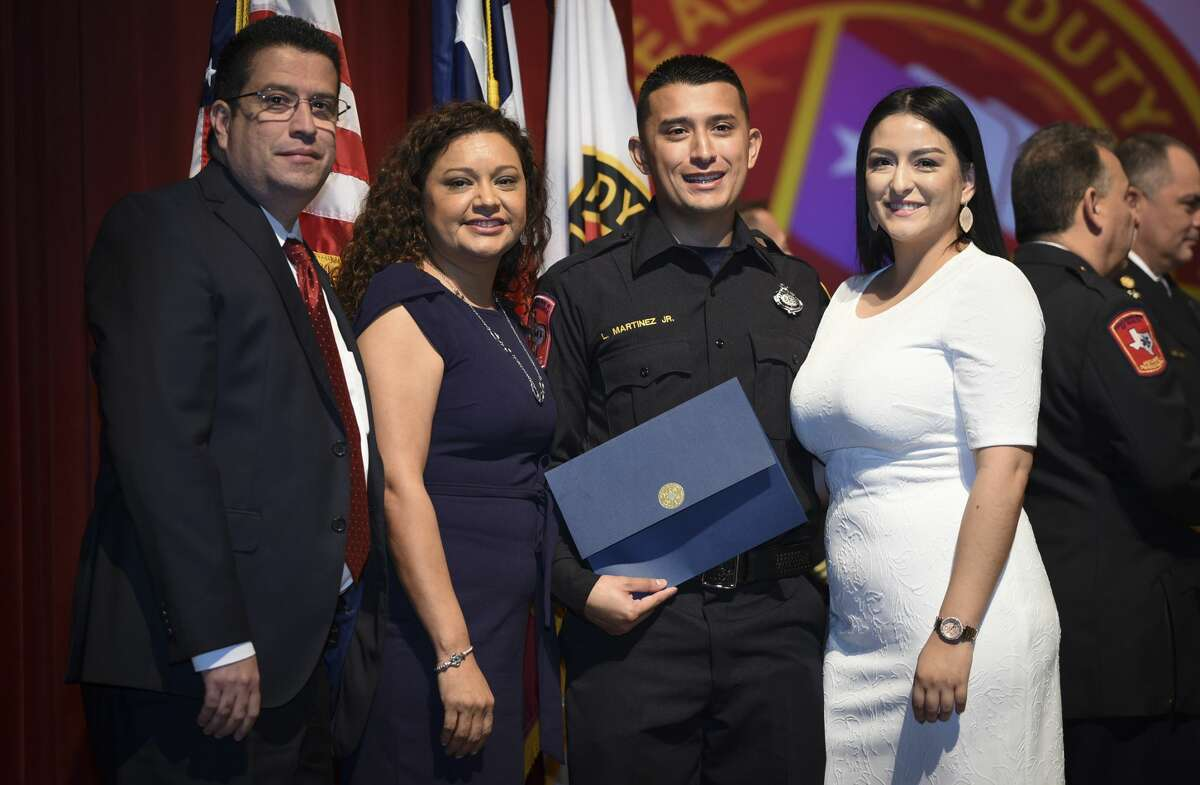 Graduating cadets of Fire Academy 434 meet with family, instructors and city officials at the U.I.S.D. Bill Johnson Student Activity Complex auditorium, Friday, Jan. 10, 2020, during the Laredo Fire Department Academy Graduation.