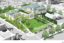 The new New Canaan Library is viewed from above in a rendering by Centerbook Architects. The site includes a town green on space occupied by the current library. The New Canaan Chamber of Commerce recently voiced its support for the new library, but challenges to the project have arisen in the forms of a Freedom of Information, (FOI), request, and a request to the town's Board of Ethics.