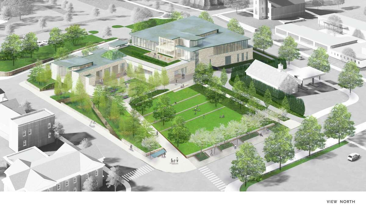 The new New Canaan Library is viewed from above in a rendering by Centerbook Architects. The site includes a town green on space occupied by the current building.