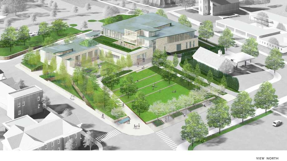 The new New Canaan Library is viewed from above in a rendering by Centerbook Architects. The site includes a town green on space occupied by the current building. Photo: New Canaan Library / Contributed Photo / New Canaan Advertiser Contributed