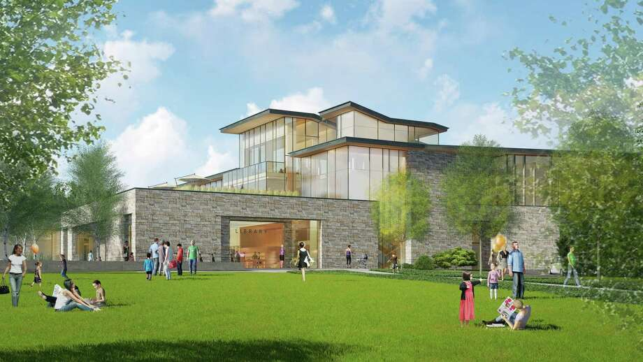 The new New Canaan Library, depicted in a rendering from Centerbrook Architects, pays homage to mid-century Modern design. The new library is viewed from above in a rendering by Centerbook Architects. The site includes a town green on space occupied by the current library. A library Board of Trustees member in this town gives her opinion in this letter about what a new library for the library is capable of doing based on previous conversations. Photo: New Canaan Library / Contributed Photo / New Canaan Advertiser Contributed
