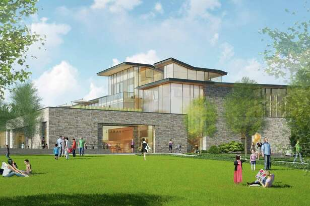 The new New Canaan Library, depicted in a rendering from Centerbrook Architects, pays homage to mid-century Modern design. The New Canaan Chamber of Commerce recently voiced its support for the new library, but challenges to the project have arisen in the forms of a Freedom of Information, (FOI), request, and a request to the town's Board of Ethics.