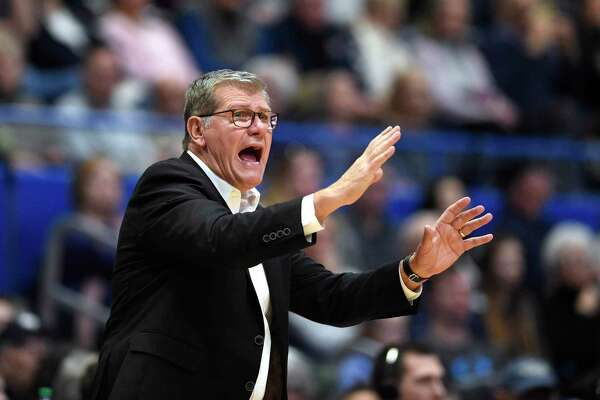 Connecticut head coach Geno Auriemma in the second half of an NCAA college basketball game on Saturday in Hartford.
