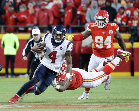 Deshaun Watson, scrambling against the Chiefs, passed for 388 yards with no interceptions in the Texans' 51-31 loss.