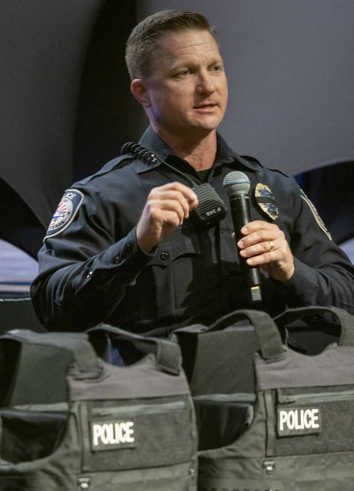Midland Police Chief Seth Herman thanks the Midland community 01/14/2020 during the Shield 616 vest presentation at Stonegate Fellowship. Shield 616 helps organizes and raise money in the community to purchase new ballistic vests for first responders. Tim Fischer/Reporter-Telegram