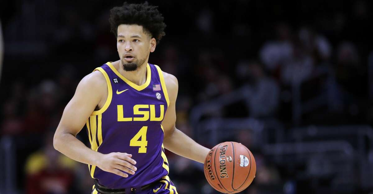 LSU's Skylar Mays (4) dribbles during an NCAA college basketball game against Southern California Saturday, Dec. 21, 2019, in Los Angeles. (AP Photo/Marcio Jose Sanchez)