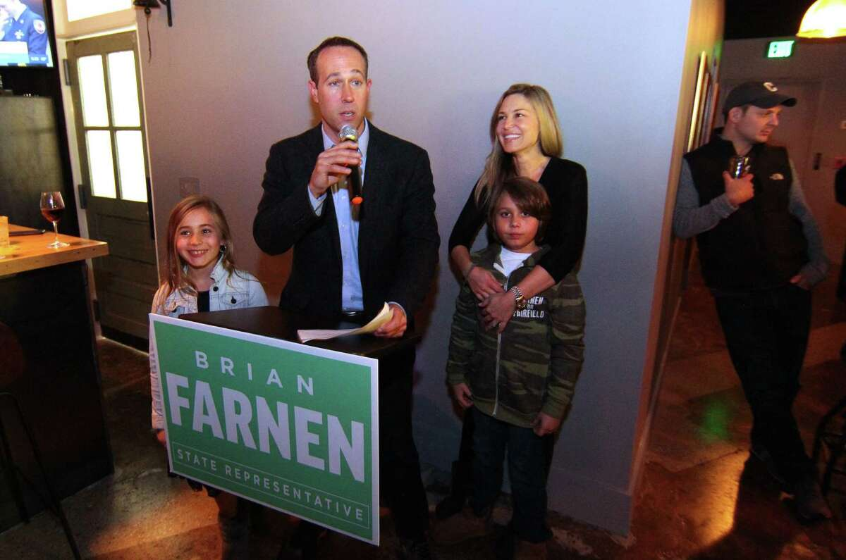 Brian Farnen (R) celebrates after beating Jennifer Leeper (D) for State Rep. Assembly 132 in a Special Election during a campaign party at J.B. Percival Co. in Fairfield, Conn., on Tuesday Jan. 14, 2020.