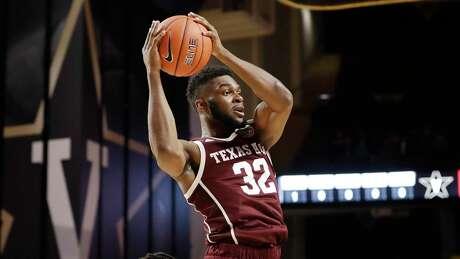 Texas A&M forward Josh Nebo plays against Vanderbilt in an NCAA college basketball game Saturday, Jan. 11, 2020, in Nashville, Tenn. (AP Photo/Mark Humphrey)
