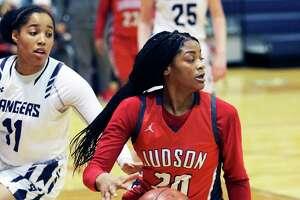 Rocket guard Kierra Sanderlin grabs a defensive rebound and starts the break as the Smithson Valley girls host the Judson Rockets in girls basketball on Jan. 14, 2020.