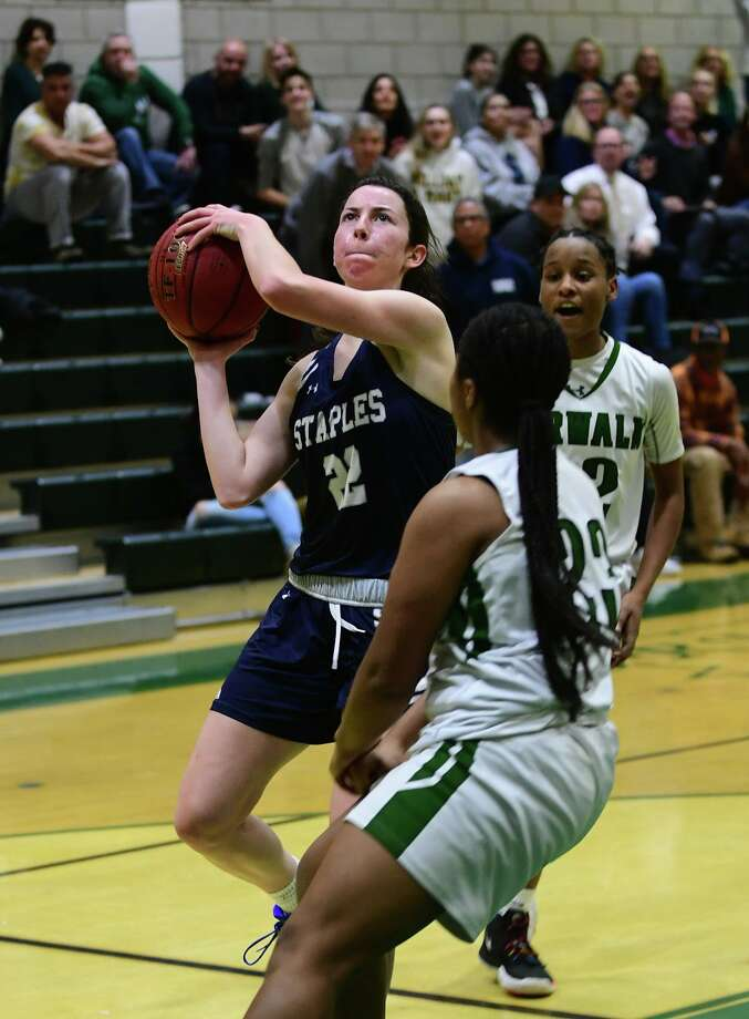 Wrecker Kathleen Cozzi goes up for the shot as the Norwalk High Bears take on the Staples High School Wreckers in their FCIAC girls basketball game Tuesday, January 14, 2020, in Norwalk, Conn. Photo: Erik Trautmann / Hearst Connecticut Media / Norwalk Hour