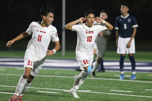 LEE's Wilmar Aguilar (10) reacts after his score against Central Catholic in the second half in boys soccer at Central Catholic on Tuesday, Jan. 14, 2020. Aguilar's score gave LEE the win over Central Catholic, 1-0, in a match between the two top rated high school teams.