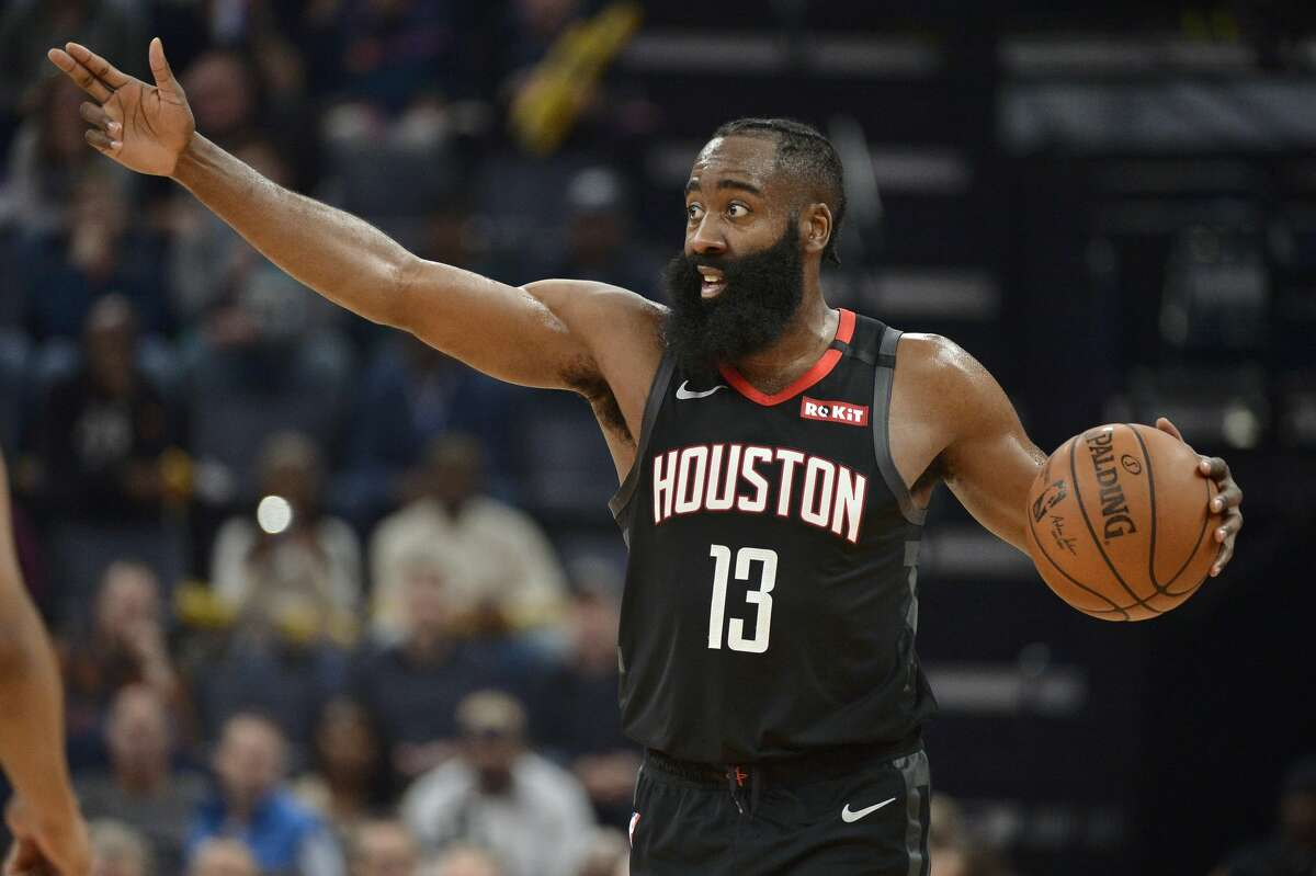 Houston Rockets guard James Harden (13) calls to teammates in the first half of an NBA basketball game against the Memphis Grizzlies Tuesday, Jan. 14, 2020, in Memphis, Tenn. (AP Photo/Brandon Dill)
