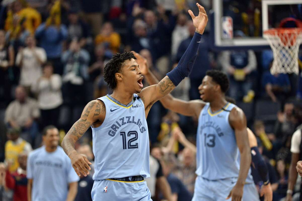Memphis Grizzlies guard Ja Morant (12) and forward Jaren Jackson Jr. (13) react in the first half of an NBA basketball game against the Houston Rockets Tuesday, Jan. 14, 2020, in Memphis, Tenn. (AP Photo/Brandon Dill)