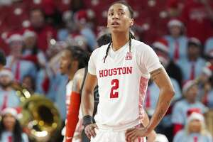 Houston Cougars guard Caleb Mills (2) reacts to the final seconds of the the team's 61-55 loss to Oklahoma State Cowboys at the Fertitta Center on Sunday, Dec. 15, 2019 in Houston. Houston Cougars lost the game 61-55.