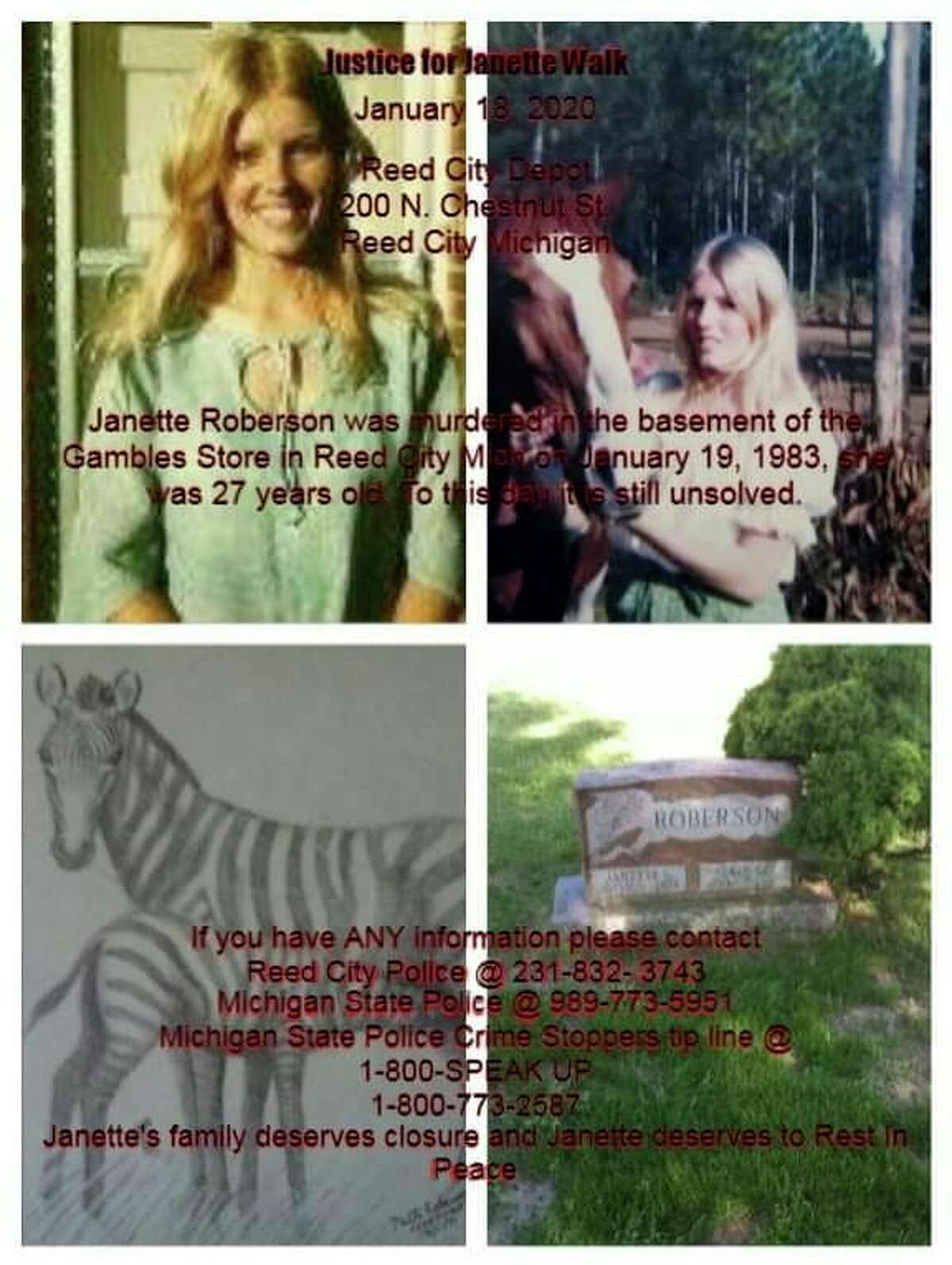 The annual Justice for Janette walk in Reed City will take place Saturday, Jan. 18, from 12-4 p.m. The walk will begin at the Reed City Depot and end at Reed City Hardware, formerly Gamble's, downtown. The purpose of the walk is to bring attention to the cold case and possibly generate new leads that will help solve the case. (Submitted photo)