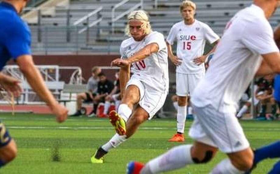 SIUE senior midfielder Jorge Gonzalez in action against Tulsa. Photo: SIUE Athletics