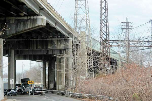 A view looking north from South State Street of a section of I-95 roadway and bridge photographed on Jan. 14, 2020 that will be repaired beginning this year.