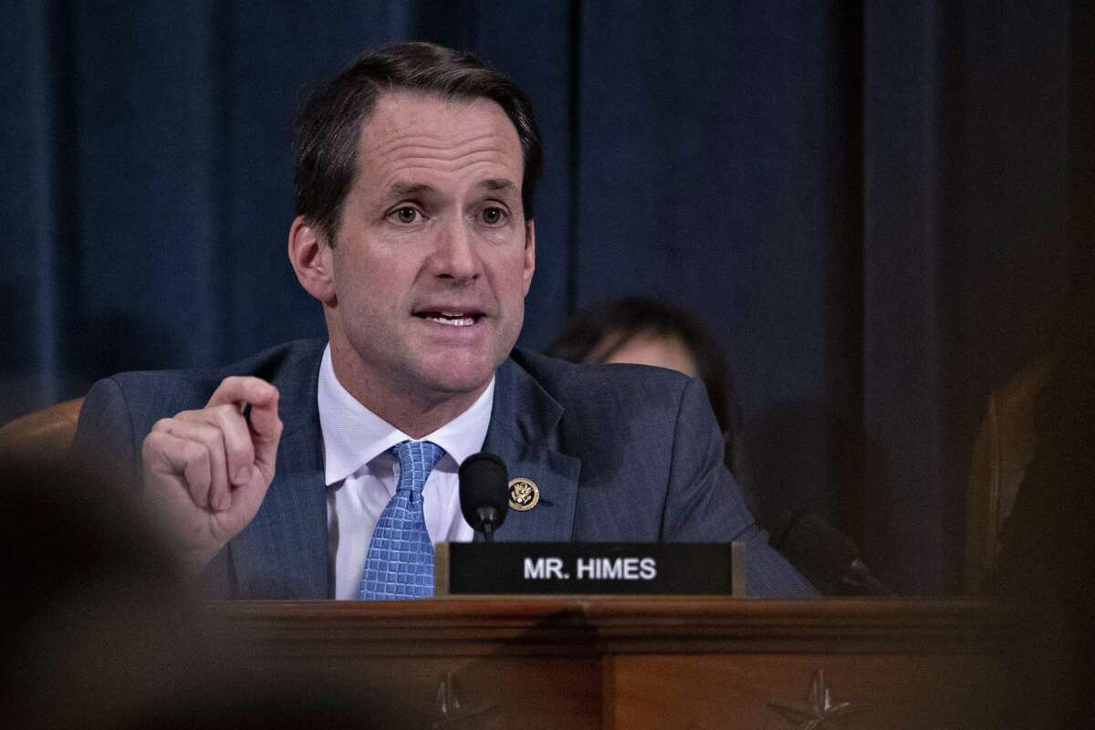 WASHINGTON, DC - NOVEMBER 21: Representative Jim Himes, a Democrat from Connecticut, questions witnesses on Capitol Hill November 21, 2019 in Washington, DC. The committee heard testimony during the fifth day of open hearings in the impeachment inquiry against U.S. President Donald Trump, whom House Democrats say held back U.S. military aid for Ukraine while demanding it investigate his political rivals. (Photo by Andrew Harrer-Pool/Getty Images)