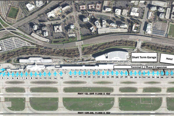 Long-term plans for Mineta San Jose Airport include a new Terminal C, hotel, and parking garages.