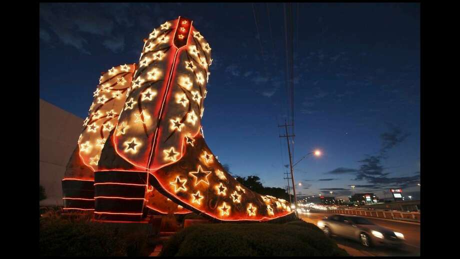 """The """"World's Largest Cowboy Boots"""" sculpture that stands at 40-feet tall will celebrate its 40th anniversary this Thursday. Photo: EGR Communications"""