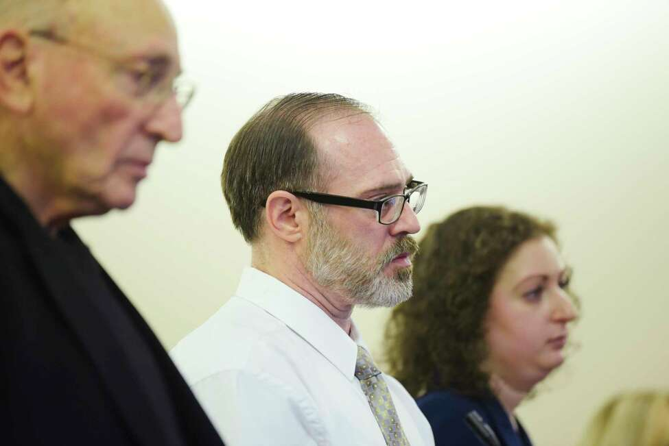 Paul Barbaritano, center, appears in Albany County Court with his attorneys, Michael Feit, left, and Rebekah Sokol, right, on Wednesday, Jan. 15, 2020, in Albany, N.Y. Barbaritano was arraigned on a murder charge and sent to the Albany County Jail without bail. (Paul Buckowski/Times Union)