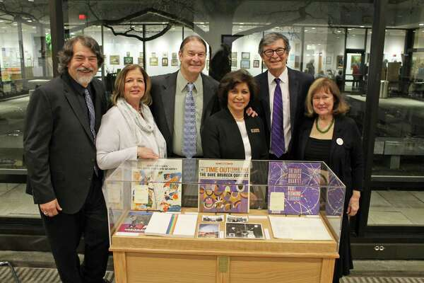 From left, Chris and Tish Brubeck, Dan Brubeck, Elaine Tai-Lauria, executive director of Wilton Library, and Darius and Cathy Brubeck celebrate the collaboration to bring the Brubeck Collection to Wilton Library.