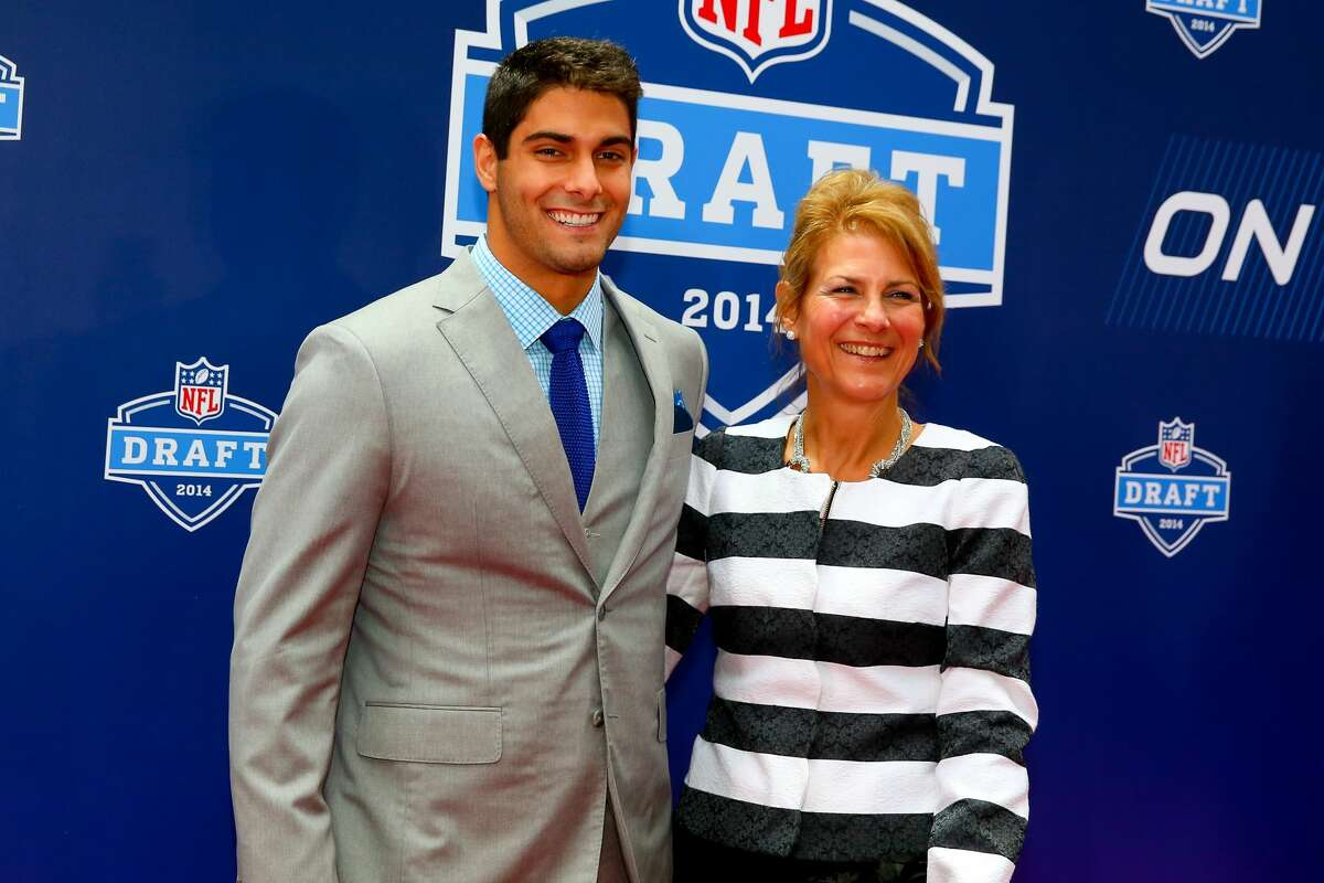 Jimmy Garoppolo accompanied by mother Denise Garoppolo on the Red Carpet at the 2014 NFL Draft. The 2104 NFL Draft was held at Radio City Music Hall in New York City.
