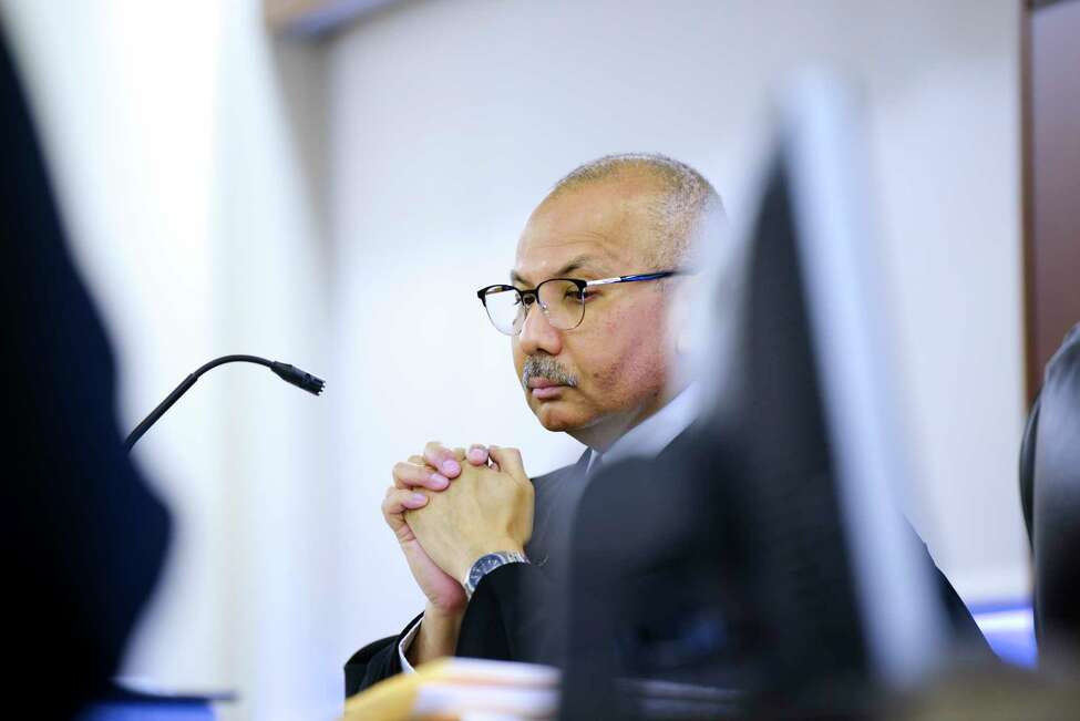 Judge William Carter listens to lawyers for Paul Barbaritano make an argument for why Barbaritano should be released during his arraignment on a murder charge at Albany County Court on Wednesday, Jan. 15, 2020, in Albany, N.Y. Judge Carter sent Barbaritano to Albany County Jail without bail. (Paul Buckowski/Times Union)