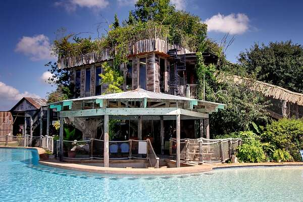 Treehouse resort: New Braunfels Let your inner-kid vacation in this luxury treehouse on the Guadalupe River. All guests will have their own private covered deck, BBQ grill and can use the swimming pool with a swim-up bar. 2 bd, 1 bath $354 per night Guadaluperiverhouses.com
