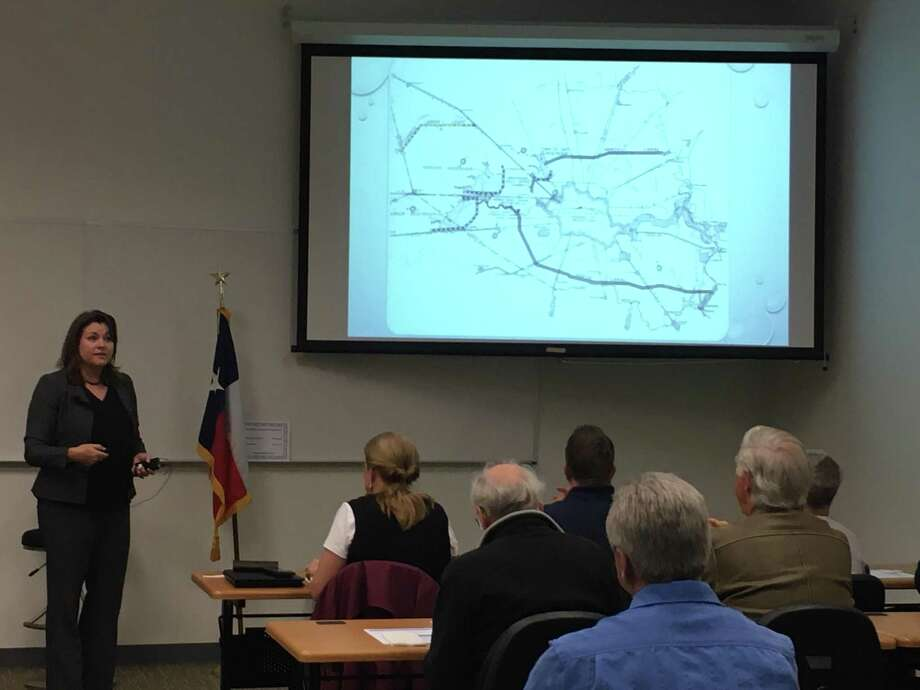 "Wendy Duncan, a director of the Willow Fork Drainage District, talks about ""Hurricane Harvey and the Path Forward"" at the Jan. 14 Katy Area Chamber of Commerce luncheon. About 50 people attended the luncheon meeting at PetroSkills Conference Center. Photo: Karen Zurawski/Staff Photo / Karen Zurawski/Staff Photo"