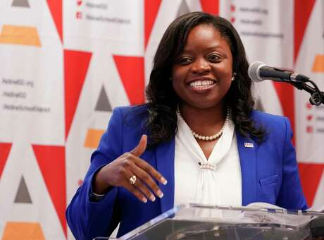 LaTonya Goffney, superintendent of Aldine Independent School District, speaks during the Texas Education Agency press conference at Stephens Elementary, 2402 Aldine Mail Route Road, Thursday, Aug. 15, 2019, in Houston.