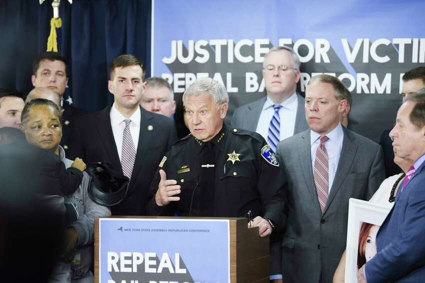 Schoharie County Sheriff Ron Stevens speaks at a press conference at the Legislative Office Building on Wednesday, Jan. 15, 2020, in Albany, N.Y. Those attending the press conference were calling on Democrats to repeal the bail reform changes that were enacted January 1st. (Paul Buckowski/Times Union)