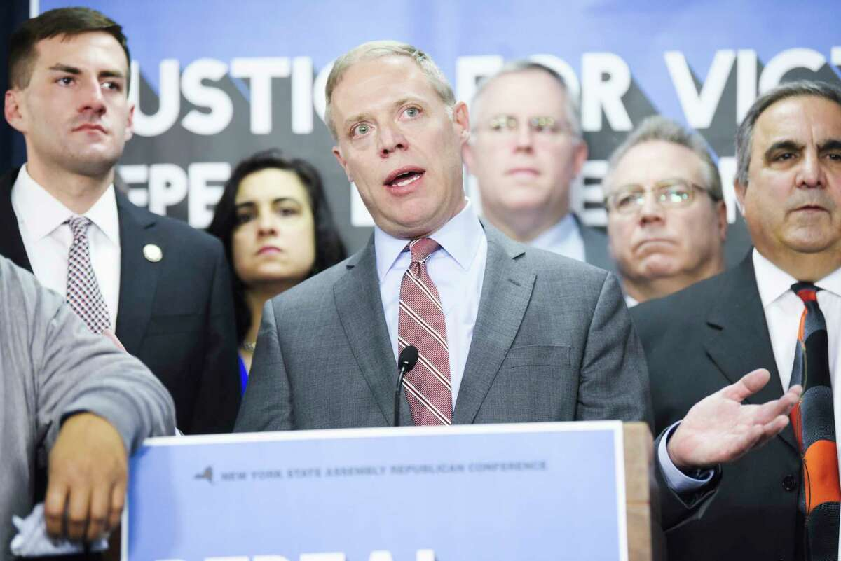 Assembly Minority Leader Will Barclay speaks at a press conference at the Legislative Office Building on Wednesday, Jan. 15, 2020, in Albany, N.Y. Leader Barclay held the press event to call on Democrats to repeal the bail reform changes that were enacted January 1st. (Paul Buckowski/Times Union)