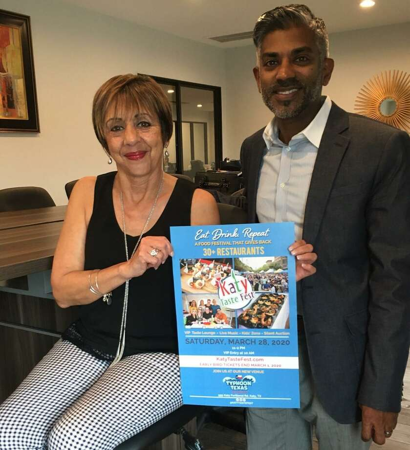 Katy Taste Fest, which started in 2017, returns on March 28 to a new location, Typhoon Texas. Carmen Valderrama chairs the festival's medica/public relations committee and Cyril Thomas is the founder of the event, which benefits nonprofits. Photo: Karen Zurawski/Staff Photo / Karen Zurawski/Staff Photo