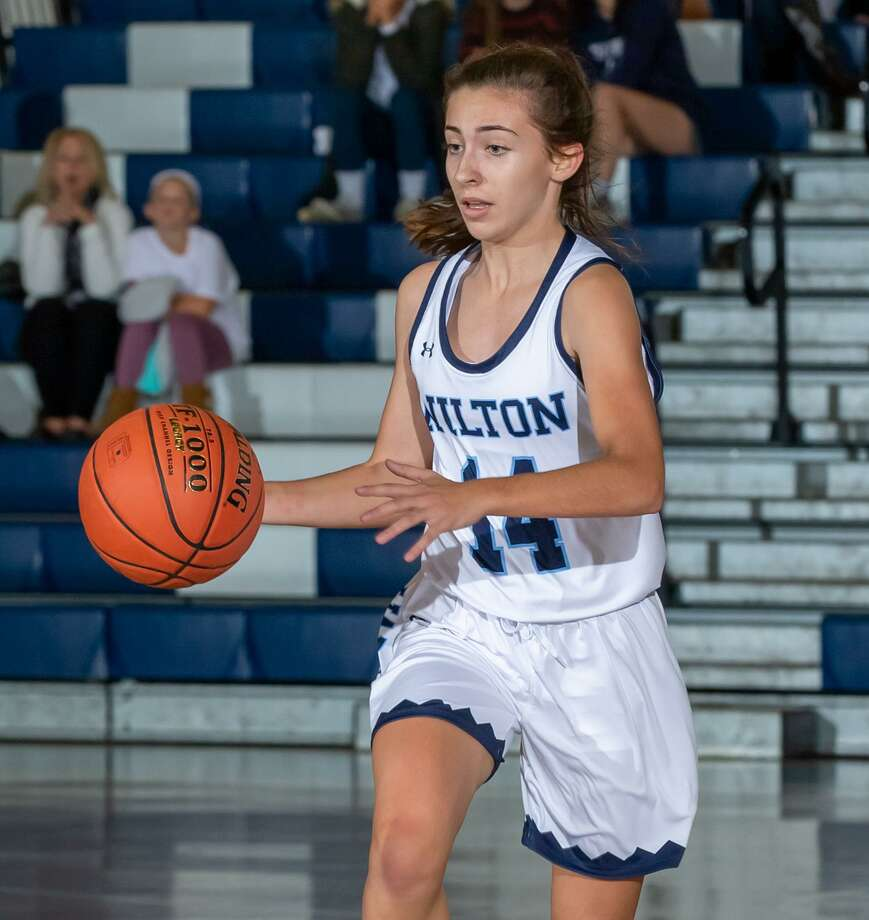 Leah Martins was among the key contributors as the Wilton girls basketball team defeated Darien on Tuesday night. Photo: Gretchen McMahon / For Hearst Connecticut Media