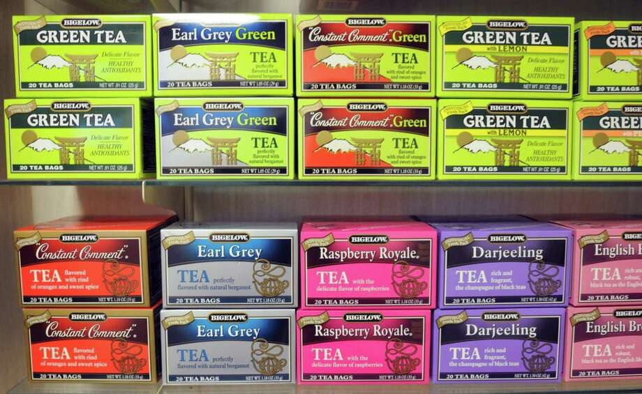 Some of the Bigelow Tea Company in Fairfield's classic products. Photo: Mara Lavitt /New Haven Register