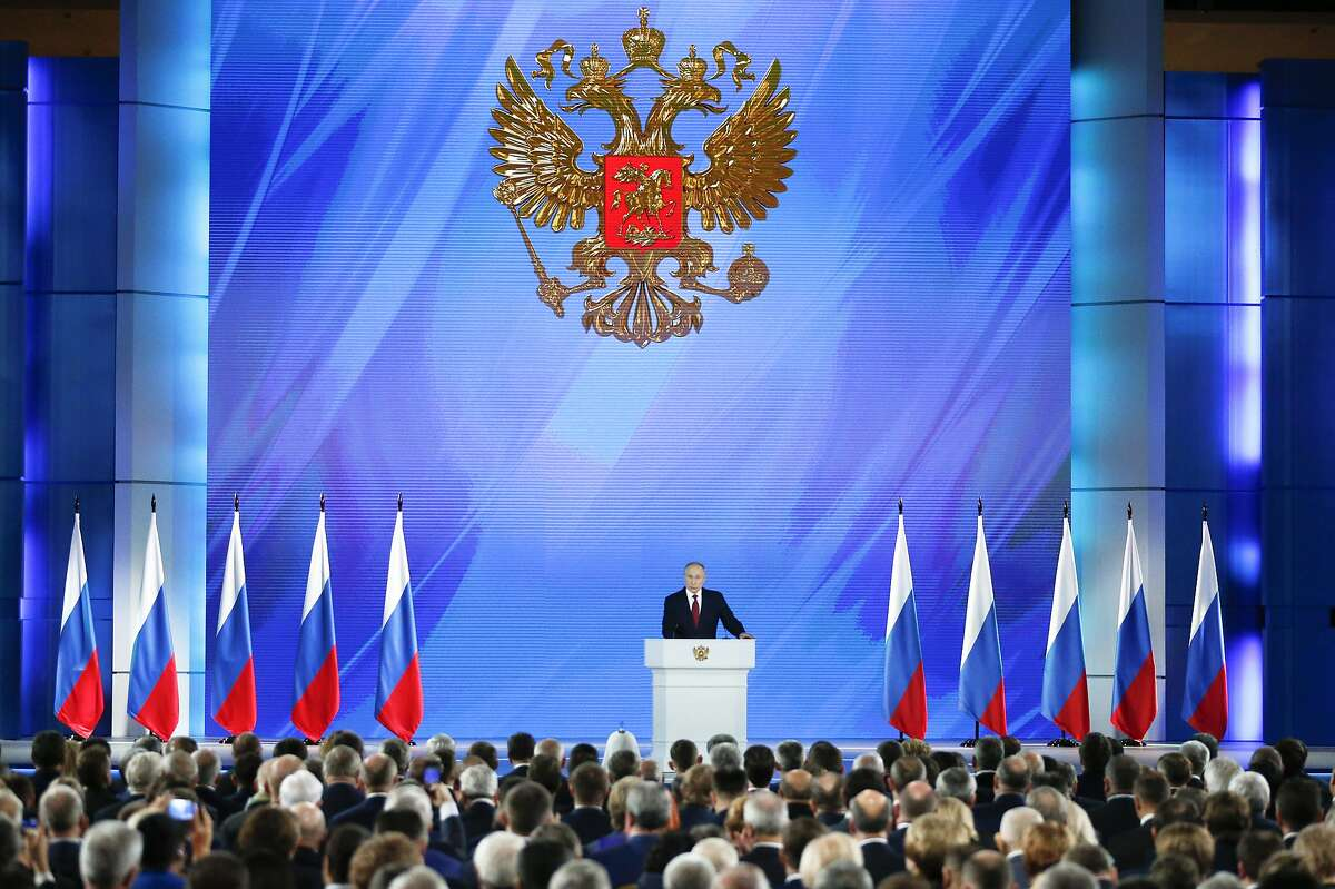 Russian President Vladimir Putin addresses the State Council in Moscow, Russia, Wednesday, Jan. 15, 2020. (AP Photo/Alexander Zemlianichenko )