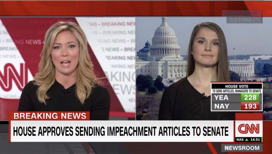 Hearst reporter Emilie Munson appeared on CNN January 15, 2019 to speak about a Connecticut congressional candidate's presence in impeachment records. Photo: .