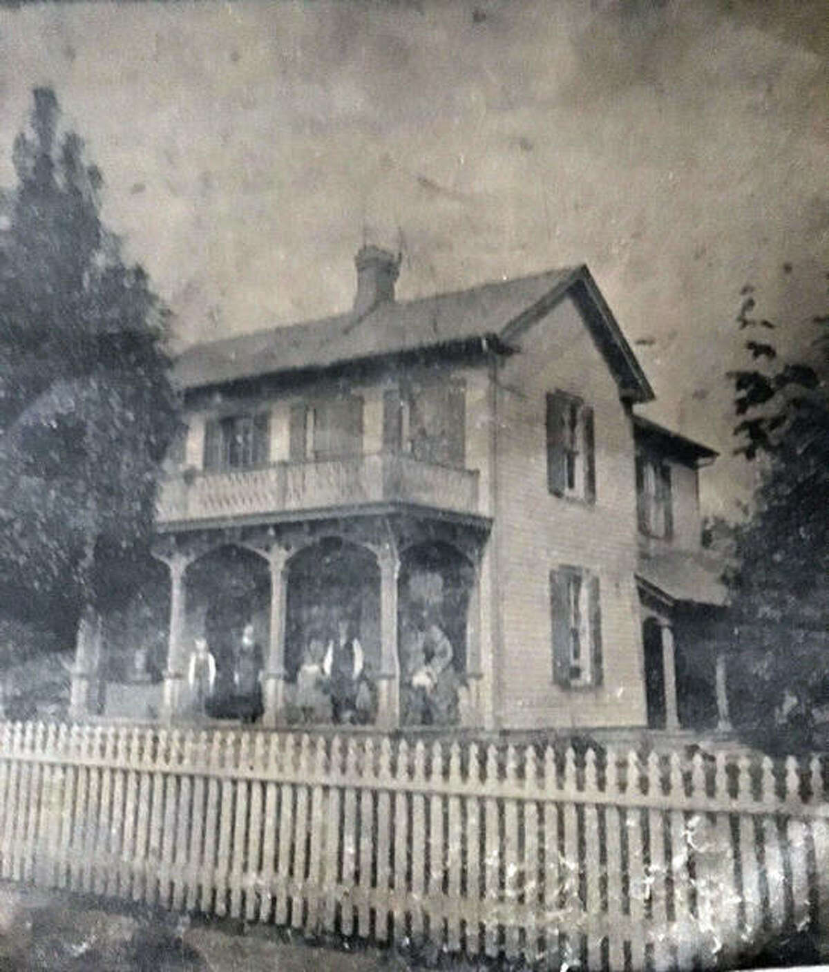 Pictured is the Hartung residence that stood at 119 South Main Street from 1882 to 1930, when it was replaced by the Illinois Bell Telephone Company switching station. The image is a tintype from the 1890s. The home was first owned by Louis H. Hartung Sr., then by his son, Louis H. Hartung Jr. In Oct. 1930, Hartung Jr. was forced to sell. Clyde Hartung, Edwardsville Mayor from 1973 to 1977, identified the home for one of his nephews, who submitted the image.