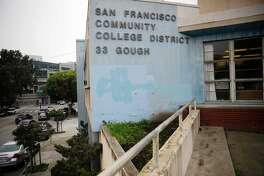 This file photo shows a dilapidated building at 33 Gough Street, which was owned by City College. The district vacated the building and sought housing development on the site, hoping to use the money to modernize other campus buildings. In a larger effort to modernize and update its facilities, City College is asking San Francisco voters to approve Prop. A, an $845 million bond measure.