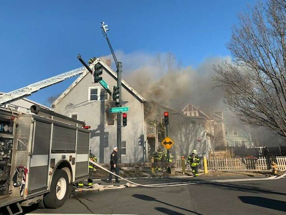 Four people were displaced and one injured in a fire on Winchester Avenue in New Haven Wednesday. Photo: CONTRIBUTED PHOTO
