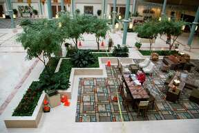 View of the lobby of the Hilton hotel in Greenspoint on Friday, Jan. 10, 2020, which will be remodeled to include a bar right in center of the large lobby.